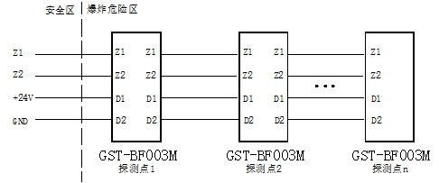 海湾gst-bf003m防爆点型可燃气体探测器系统接线图