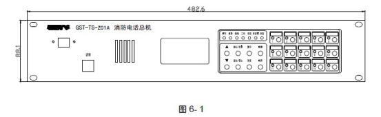 海湾消防电话总机GST-TS-Z01A/B_安装接线图 一、结构特征、安装与布线 GST-TS-Z01A 型消防电话总机外形尺寸及结构示意图如图6-1:  GST-TS-Z01B 型消防电话总机外形尺寸及结构示意图如图6-2:  本消防电话总机采用标准插盘结构安装,其后部示意图如图6-3:  其中系统内部接线: 机壳地:与机架的地端相接 DC24V 电源输入:接DC24V RS485 接控制器:与火灾报警控制器相连接 系统外部接线: 通话输出:消防电话总线,与GST-LD-8304 接口连接 布线要求:通