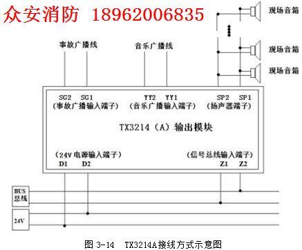泰和安tx3214a广播输出模块_安装|接线图