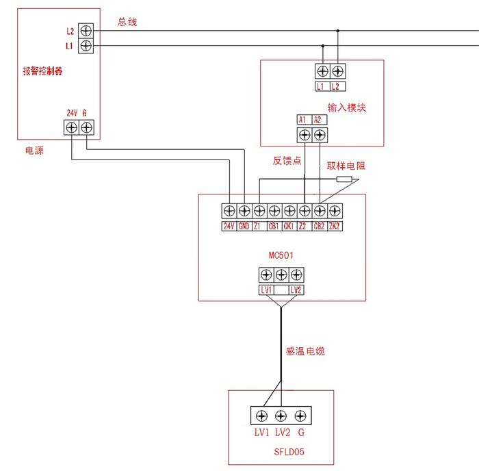 青岛中阳感温电缆微电脑处理器与控制器连线图