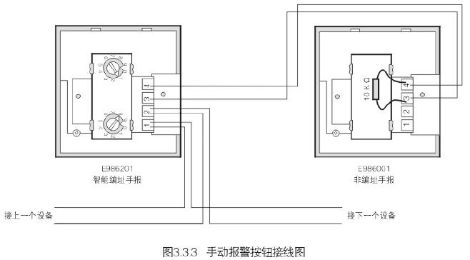 986201智能编址型手动报警按钮并联接线图
