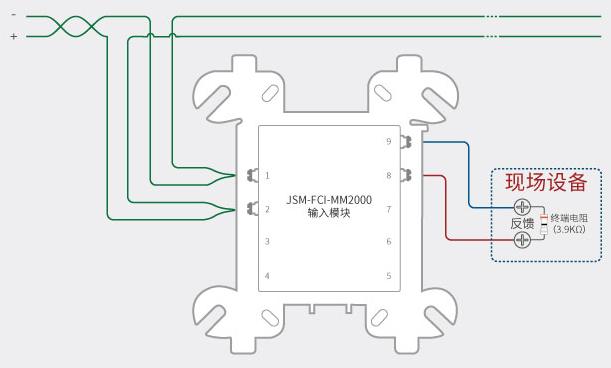 诺蒂菲尔jsm-fci-mm2000监视模块常规接线图