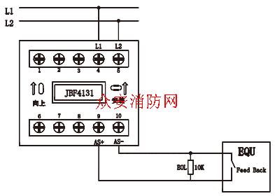 北大青鸟输入模块北大青鸟监视模块jbf4131安装接线图